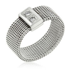 Silver Stainless Steel Mesh Band Ring Cubic Zirconia Promise Size 11 USA Seller