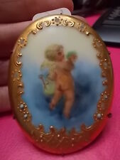 antique hand painted portrait pin,  CHERUB with raised beads and gold