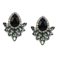 NiX 1276 High Quality Round Black Crystal Stud Earrings Danglers Gift For Women