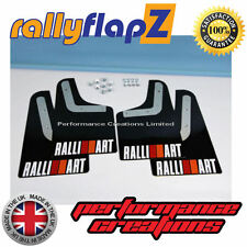 rallyflapZ MITSUBISHI EVO 4 (96-98) 4th Gen Mud Flaps Black Ralliart White (R&O)
