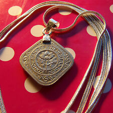 "Dutch Netherlands Classic Coin Pendant on a 30"" .925 Sterling Silver Snake Chain"