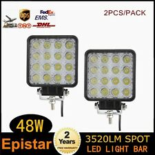 2X 48W Spot Square LED Light Bar Driving Fog SUV 4WD UTB Tractor Boat Offroad US