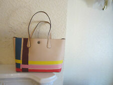 Tory Burch Perry Striped Leather Tote