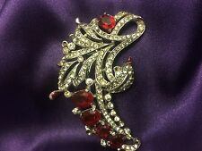 Vintage Trifari Philippe Ruby Red and Clear Glass Stones Fur Clip c.1940