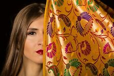 Exclusive Golden Hand Woven Silk Brocade Fabric by Yard
