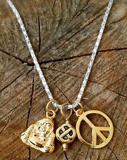 Men Karma Gold Tone Compassion Buddha Love Knot Peace Sign Necklace