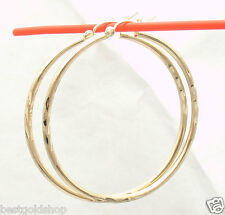 "2mm X 45mm 1 3/4"" Large Diamond Cut Hoop Earrings REAL 10K Yellow Gold 2.50gr"