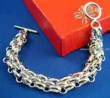 B09 925 sterling silver Men three Oval Circle TO Link Chain Bracelet 8.2 inch