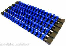 "5 GOLIATH INDUSTRIAL 3/8"" ABS MOUNTABLE SOCKET RAIL HOLDER ORGANIZER BLUE SH38BB"