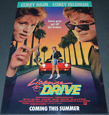 LICENSE TO DRIVE 1988 ORIGINAL ADVANCE MOVIE POSTER! COREY HAIM & COREY FELDMAN!