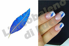 20 AUTOCOLLANTS POUR ONGLES PLUME BLEU MANUCURE BLUE FEATHER NAILS ART STICKERS