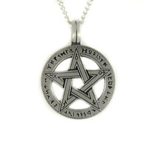 "Runic Pentacle Pentagram Rune Pagan Wiccan Gothic Pewter Pendant on 18"" Necklace"