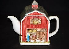Classic Style Red Barn Tea Pot Country Farm Decor Gibson Greetings Otagiri Japan