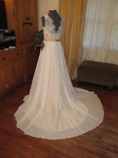NWT Flowing Formal Chiffon Ivory Taupe 2 color Classic Wedding Dress Train 10/12