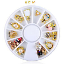 14 Pcs 3D Nail Art Gold Flower Ring Alloy Pearl Jewelry Rhinestone Decoration