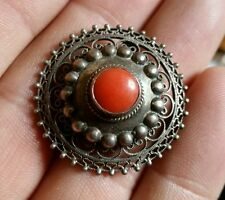 """ANTIQUE VINTAGE Filigree 800 SILVER PIN BROOCH W RED SALMON CORAL 1.25"""""""