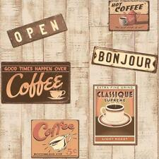 NEW RASCH RETRO COFFEE SHOP PATTERN WOOD EFFECT EMBOSSED VINYL WALLPAPER 854404