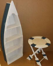 5' BLUE row Boat Bookshelf Bookcase shelves skiff schooner canoe shelf nautical