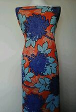 "Big Bold Flower Floral JERSEY LYCRA Stretch Fabric Material 60""Width Orange/Blue"