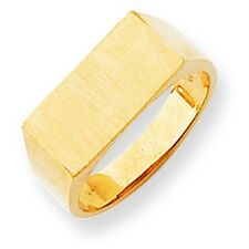 14K Yellow Gold Polished Engraveable Flat Top Surface Men's Signet Ring Size 9