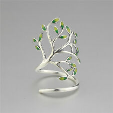 Sterling Silver 925 Tree of Life Branch Leaf Leaves Enamel Wrap Ring Adjustable