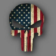 Punisher Distressed American Flag Die Cut Decal Sticker Car Truck 5""