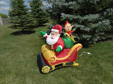 Gemmy Inflatable Airblown Santa Claus Sleigh Elf Christmas Blow Up Decoration