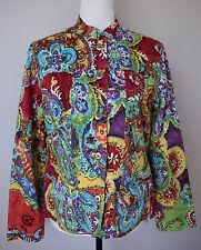 CHICO'S Blazer Coat Jacket Multi-Color Floral Cotton Button Front L/Sleeve Sz 1