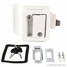 WHITE RV Handle Latch Paddle Entry Door Lock Knob Deadbolt NEW Camper Trailer