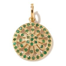 Technibond Real Green Corundum Enhancer Pendant 14K Yellow Gold Clad Silver HSN