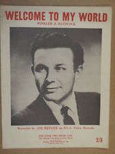song sheet WELCOME TO MY WORLD Jim Reeves 1962