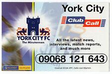 ClubCall Club Call Football Fixture List Card 2001-2002 Season - York City