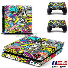 Sticker Bomb Decal Wrap For Playstation 4 PS4 Console +Free Controller Skins USA