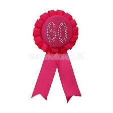 Diamante Number Rosette Badge Rose - 60th Birthday
