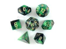 Chessex Polyhedral 7-Die Gemini Dice Set Black Green w/ Gold CHX 26439