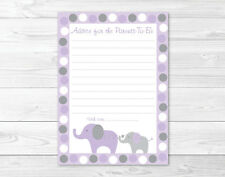Lavender Polka Dot Elephant Printable Baby Shower Mommy Advice Cards