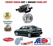 FOR MAZDA 3 SPORT 2.0 2.2 + TD 2003-2009 FRONT BRAKE DISCS SET + DISC PADS KIT