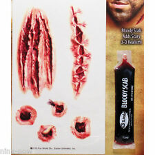 Slashes Open Wounds Temporary Tattoo and Bloody Scab Set Special FX Make-up
