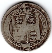 1889 12d 1s Silver ONE SHILLING twelve pence Queen Victoria Jubilee Head (a)