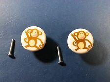 Lot of 2 Cute Monkey Childrens Cabinet Drawer Dresser Knobs Pulls Handles Kids