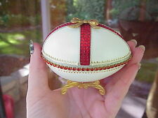 Decorated REAL Goose Egg Jewelry/Keepsake/Trinket Gift Box Red Bow