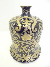Antique Chinese Signed Porcelain China Blue Gold Floral Vase Belled Bottom Old