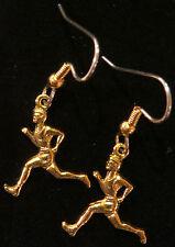 Cross-Country Runner Earrings Male 24 Karat Gold Plate