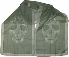 ALEXANDER MCQUEEN GREEN SKULL PATTERN SCARF-MADE IN ITALY