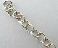 8SJ 4M Bright Silver Tone Link-opened Cable Chain Findings For Necklace 3x4mm