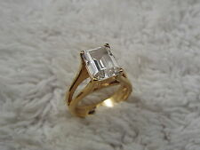 Exquisite Gold Plated Sterling Silver CZ Crystal Ring - Size 7 (D77)