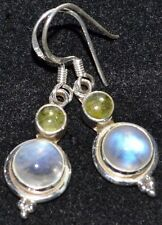 Rainbow Moonstone Peridot 925 Earring Multi Gems Sterling Silver dangle earrings