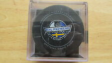 2011 NHL Premiere Stockholm Official Game Puck in a Plastic Case