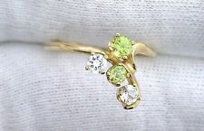 14Kt REAL Yellow Gold Round Peridot Sapphire Gemstone Gem Cocktail Ring Sz 6.75