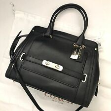 COACH 37182 Black Smooth Leather Swagger Frame Satchel Handbag NWT Dustbag